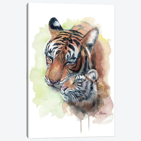 Mother and Baby Tigers Canvas Print #WLU62} by Watercolor Luv Canvas Artwork