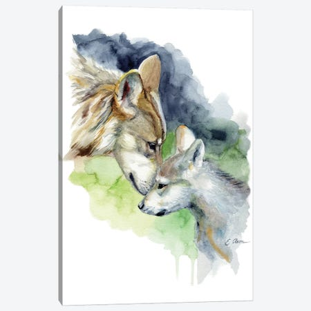 Mother and Baby Wolves Canvas Print #WLU63} by Watercolor Luv Canvas Artwork