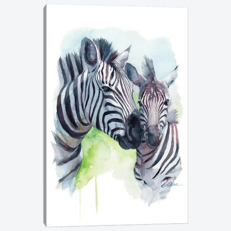 Mother and Baby Zebras Canvas Print #WLU64} by Watercolor Luv Canvas Art Print