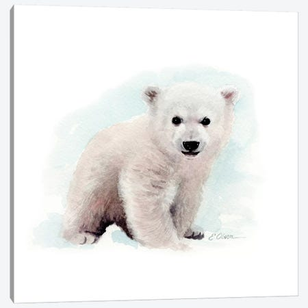 Polar Bear Cub Canvas Print #WLU67} by Watercolor Luv Art Print