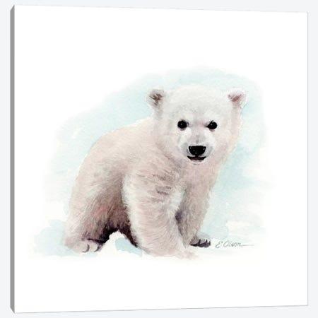 Polar Bear Cub Canvas Print #WLU67} by Watercolor Luv Art Print