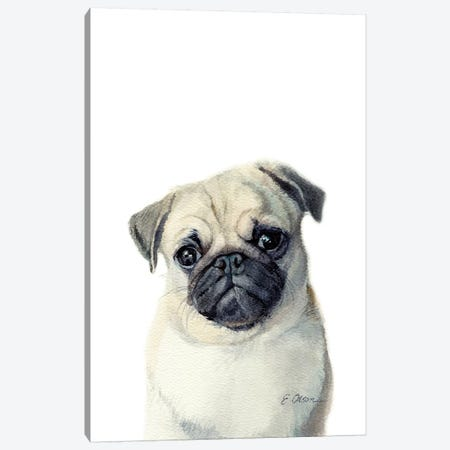 Pug Puppy Canvas Print #WLU69} by Watercolor Luv Canvas Art