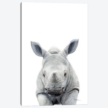 Baby Rhinceros 3-Piece Canvas #WLU6} by Watercolor Luv Canvas Artwork