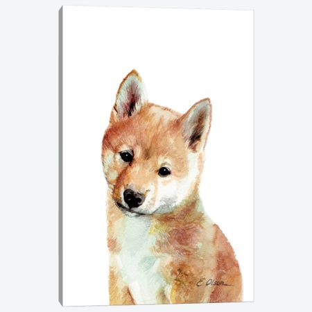 Shiba Inu Puppy Canvas Print #WLU71} by Watercolor Luv Art Print