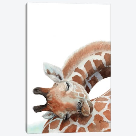 Sleeping Baby Giraffe Canvas Print #WLU75} by Watercolor Luv Canvas Wall Art