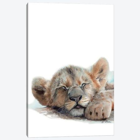 Sleeping Baby Lion Canvas Print #WLU76} by Watercolor Luv Canvas Artwork