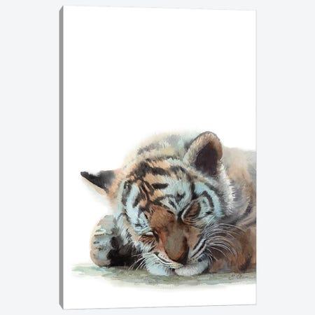 Sleeping Baby Tiger Canvas Print #WLU77} by Watercolor Luv Canvas Wall Art