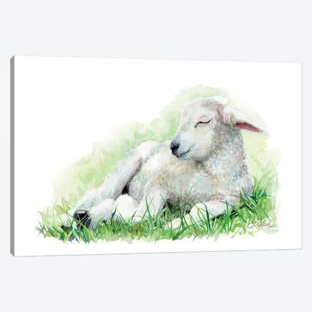 Sleeping Farm Lamb Canvas Print #WLU80} by Watercolor Luv Canvas Art