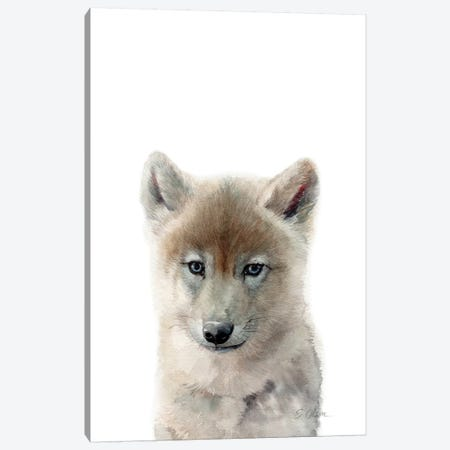 Baby Wolf Canvas Print #WLU8} by Watercolor Luv Canvas Print