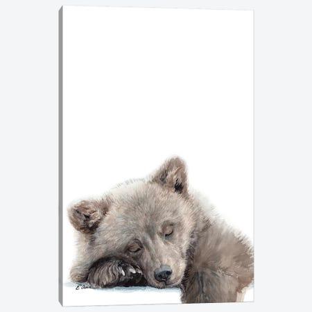 Woodland Sleeping Bear Cub Canvas Print #WLU91} by Watercolor Luv Canvas Print