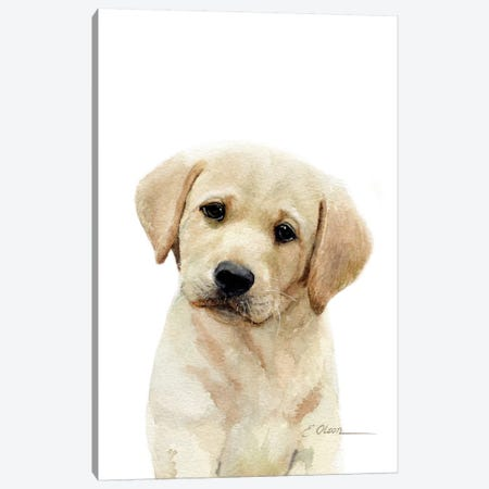 Yellow Labrador Puppy Canvas Print #WLU97} by Watercolor Luv Canvas Wall Art