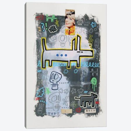 Random Collage No. 543 (Doris, Dogs N' Skulls.) Canvas Print #WLW1} by Well Well Art Print
