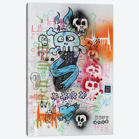 Skull Doodle Baby Canvas Print #WLW35} by Well Well Canvas Artwork