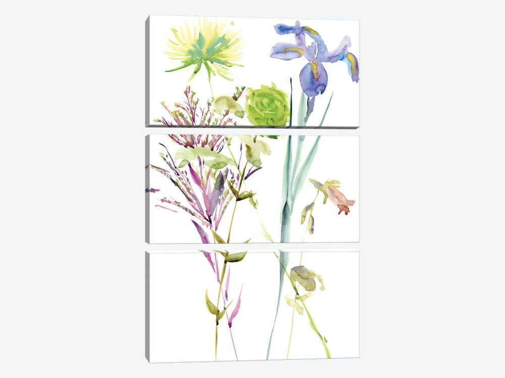 Watercolor Floral Study II by Melissa Wang 3-piece Canvas Print