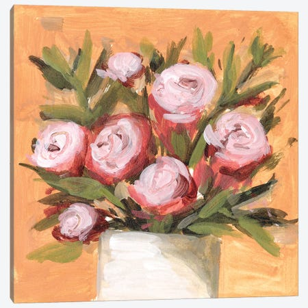 Vase & Roses II Canvas Print #WNG1170} by Melissa Wang Canvas Wall Art
