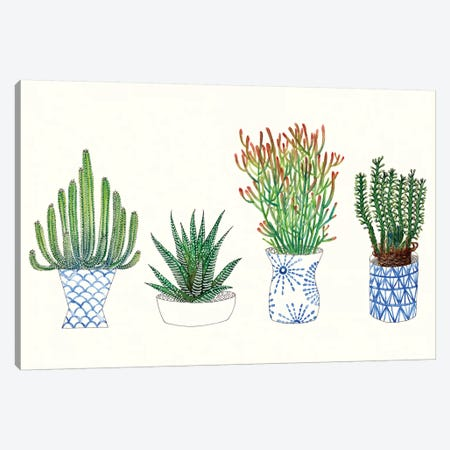 Four Succulents I Canvas Print #WNG11} by Melissa Wang Canvas Artwork