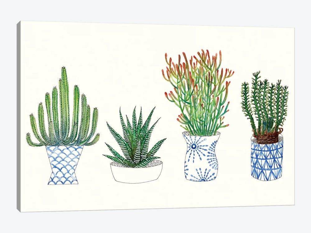 Four Succulents I by Melissa Wang 1-piece Canvas Artwork