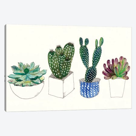 Four Succulents II Canvas Print #WNG12} by Melissa Wang Canvas Artwork