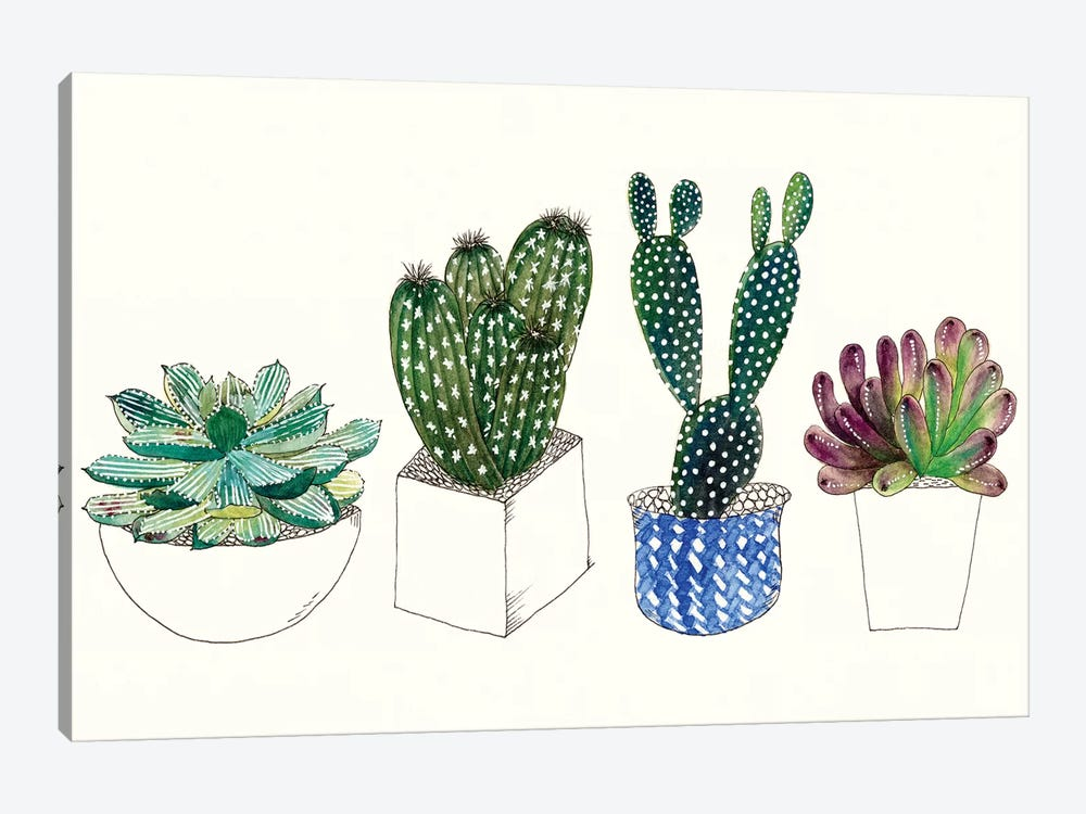 Four Succulents II by Melissa Wang 1-piece Canvas Art Print