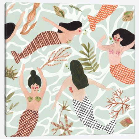 Mermaid At Heart III Canvas Print #WNG1400} by Melissa Wang Canvas Art