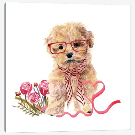 Valentine Puppy II Canvas Print #WNG146} by Melissa Wang Canvas Artwork