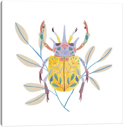 Floral Beetles I Canvas Art Print
