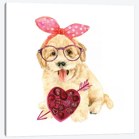 Valentine Puppy IV Canvas Print #WNG148} by Melissa Wang Art Print