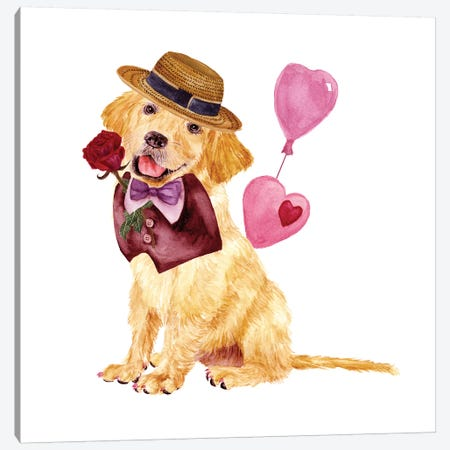 Valentine Puppy V Canvas Print #WNG149} by Melissa Wang Canvas Print
