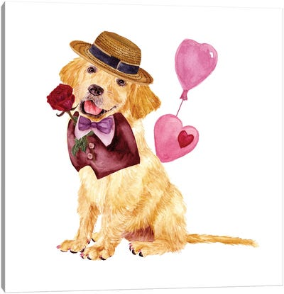 Valentine Puppy V Canvas Art Print