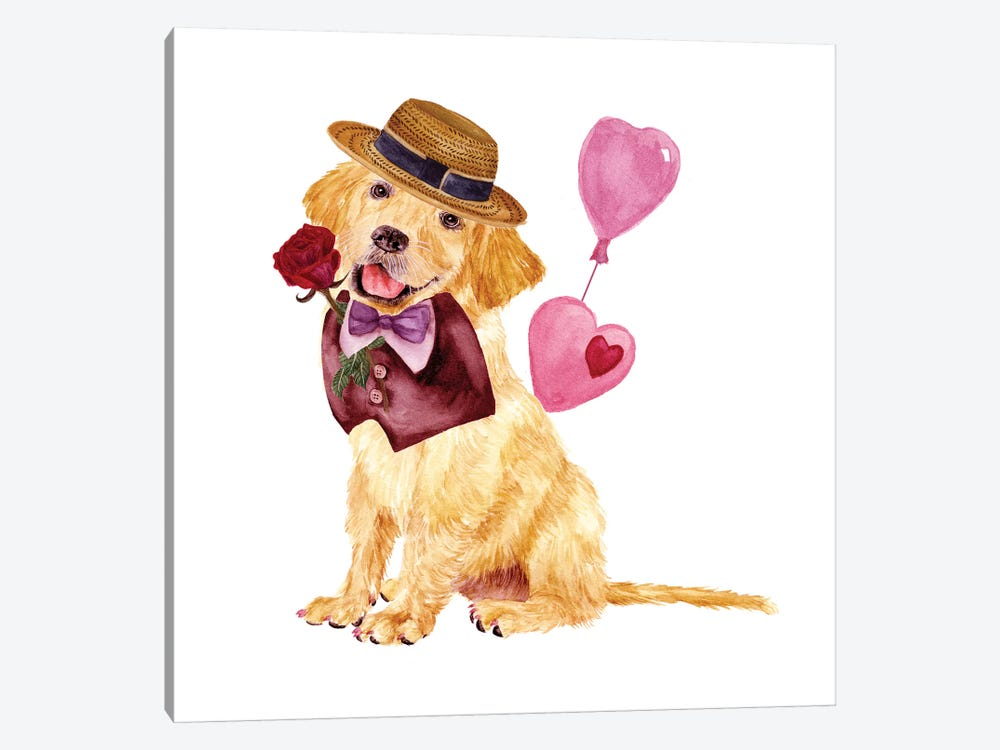 Valentine Puppy V 1-piece Canvas Art Print