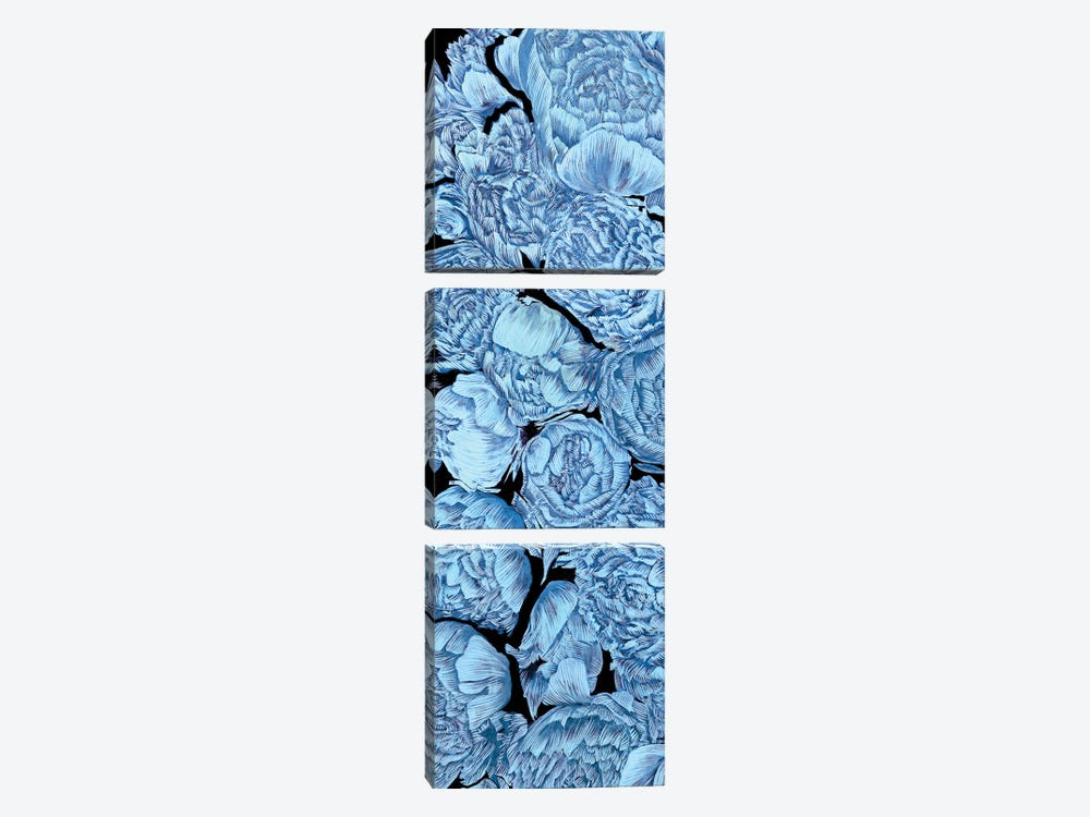 Blue Peonies I by Melissa Wang 3-piece Canvas Artwork