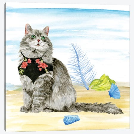 Summer Purr Party III Canvas Print #WNG253} by Melissa Wang Canvas Art Print