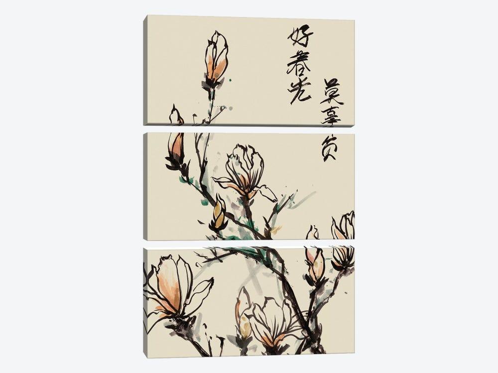 Mandarin Magnolia I by Melissa Wang 3-piece Canvas Art Print
