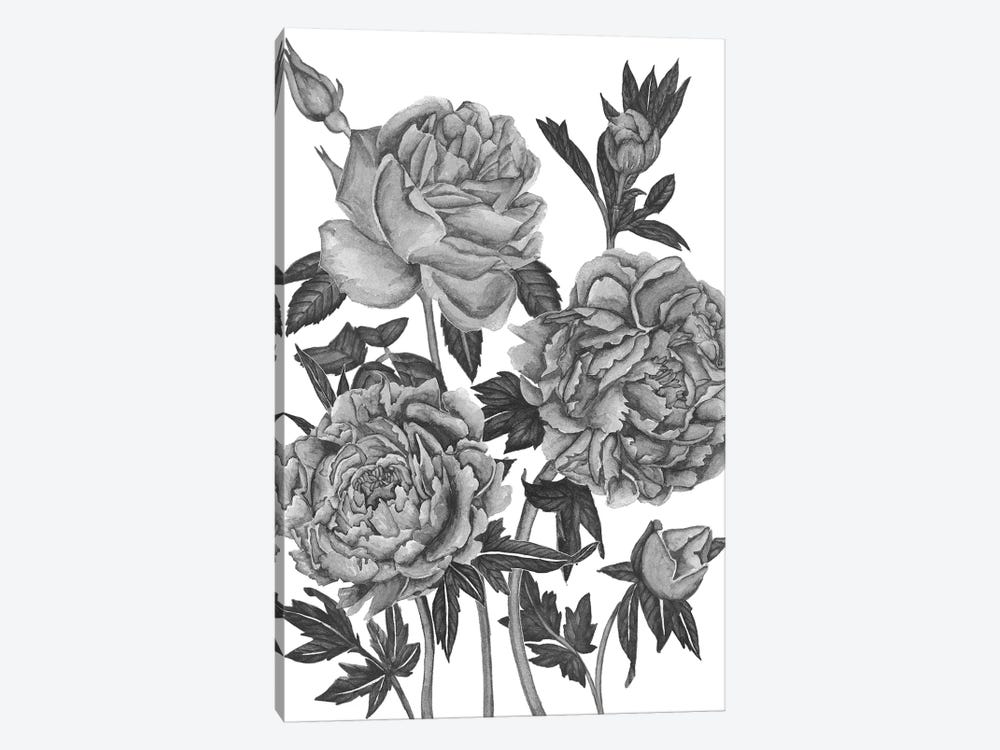 Flowers In Grey VI by Melissa Wang 1-piece Canvas Artwork