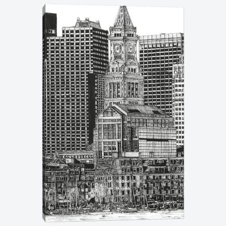 Boston Cityscape in Black & White Canvas Print #WNG395} by Melissa Wang Art Print
