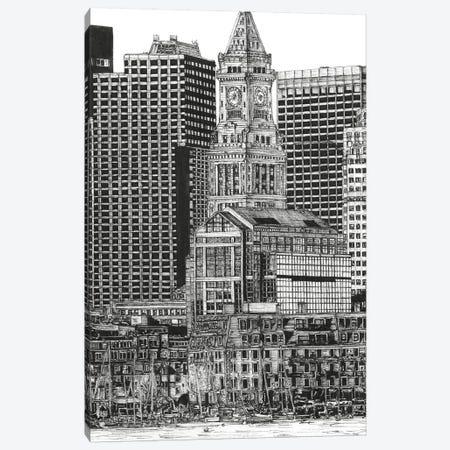 Boston Cityscape in Black & White Canvas Print #WNG395} by Melissa Wang Art Print