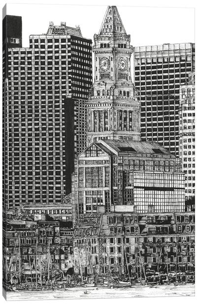 Boston Cityscape in Black & White Canvas Art Print
