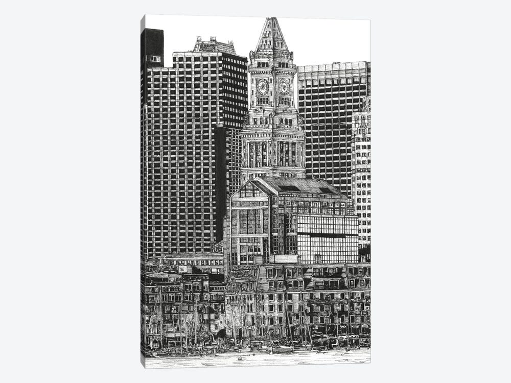 Boston Cityscape in Black & White by Melissa Wang 1-piece Canvas Print