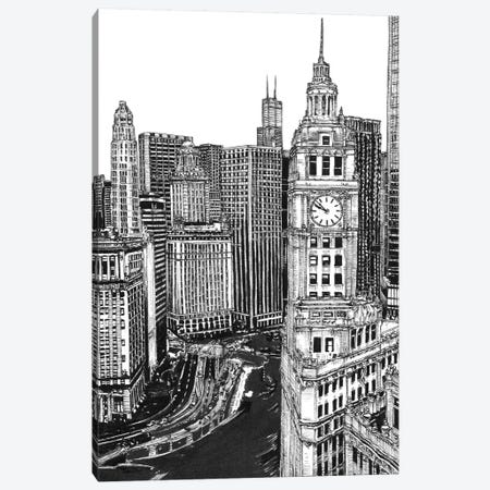 Chicago Cityscape in Black & White Canvas Print #WNG396} by Melissa Wang Canvas Art Print