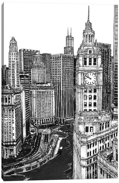 Chicago Cityscape in Black & White Canvas Art Print