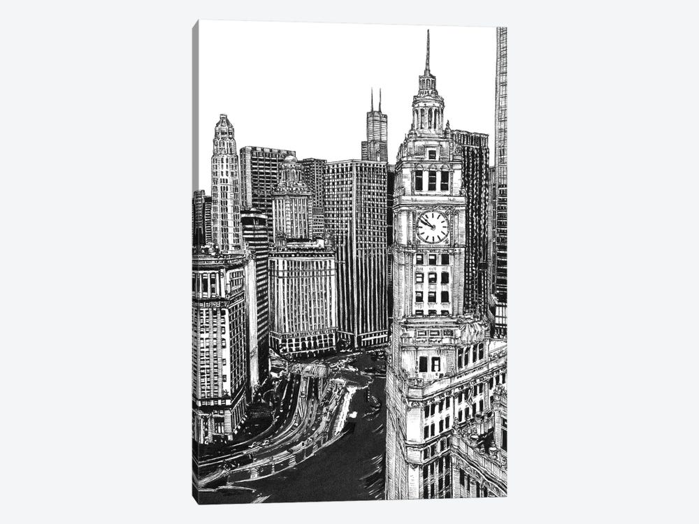 Chicago Cityscape in Black & White by Melissa Wang 1-piece Canvas Artwork