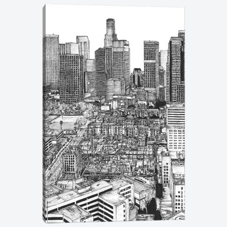 Los Angeles Cityscape in Black & White Canvas Print #WNG397} by Melissa Wang Canvas Art Print