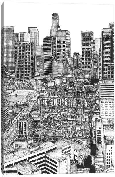 Los Angeles Cityscape in Black & White Canvas Art Print