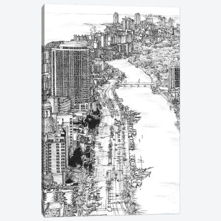 Miami Cityscape in Black & White Canvas Print #WNG398} by Melissa Wang Canvas Artwork