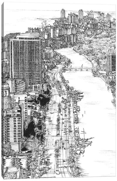 Miami Cityscape in Black & White Canvas Art Print