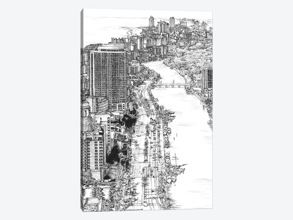 Miami Cityscape in Black & White by Melissa Wang 1-piece Canvas Art
