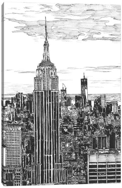 NYC Cityscape in Black & White Canvas Art Print