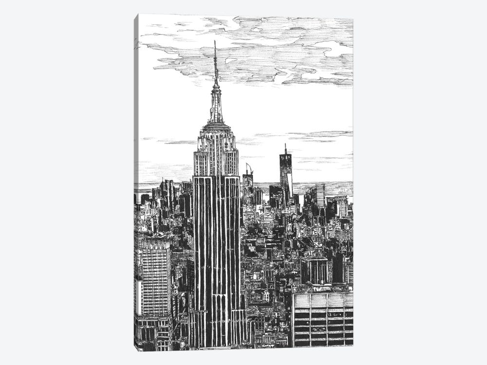 NYC Cityscape in Black & White by Melissa Wang 1-piece Art Print