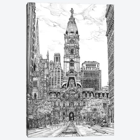 Philadelphia Cityscape in Black & White Canvas Print #WNG400} by Melissa Wang Canvas Artwork