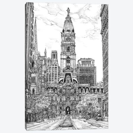 Philadelphia Cityscape in Black & White Canvas Print #WNG400} by Melissa Wang Canvas Artwork